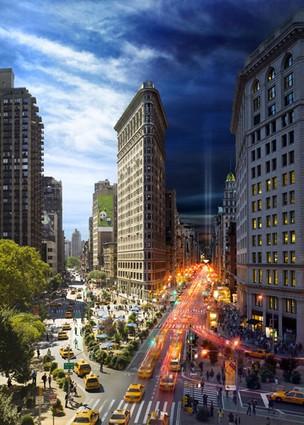 O fotógrafo e artista Stephen Wilkes criou uma mostra com imagens que parecem mágica, reunindo o dia e a noite no mesmo cenário. Na imagem, o famoso edifício Flatiron (Foto: Stephen Wilkes/Divulgação)