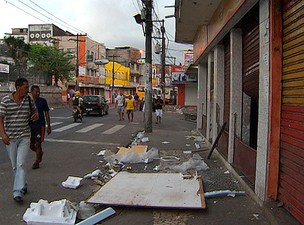 Lojas são arrombadas durante a madrugada, diz polícia em Salvador (Foto: Imagem/TV Bahia)