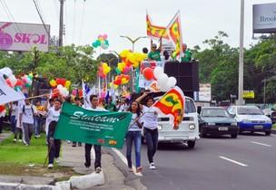 Manifestantes foram à sede da Assembleia (Foto: Reprução/Sinteam)
