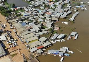 Cheia na região do Alto Solimões afeta ribeirinhos de Juruá e Purus, no AM (Foto: Ministério da Integração/Divulgação)