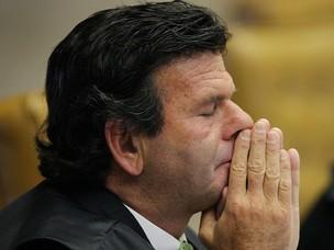 O ministro Luiz Fux durante o julgamento (Foto: Carlos Humberto / SCO / STF)