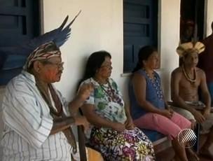 Índios no sul da Bahia (Foto: Reprodução/TV Santa Cruz)