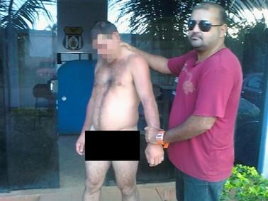 Homem foi preso após andar despido pelas ruas de Apuí (AM) (Foto: Divulgação/Polícia Civil)