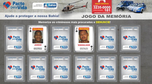 JOGO DA MEMÓRIA (Foto: Reprodução/Secretaria de Segurança Pública)