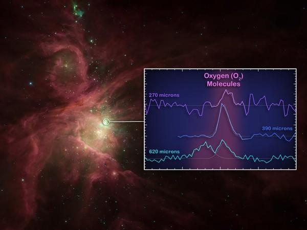 Gráfico ilustra onde os astrônomos encontraram as moléculas no espaço, na formação de estrelas Órion (Foto: JPL-Caltech/ESA/Nasa)