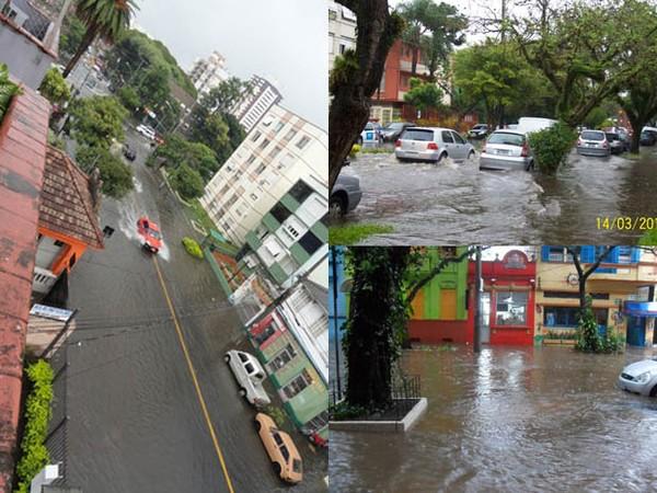 Chuva causa alagamentos em ruas de Porto Alegre (Foto: Montagem sobre fotos de Rafael Pegorini, Thais Fonseca e Thamara Coratto/VC no G1)
