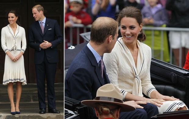 """O príncipe William e sua esposa Kate Middleton, a duquesa de Cambridge, participam do tour real no Canadá em visita ao edifício """"Province House"""", em Charlottetown, na província canadense da Ilha do Príncipe Eduardo. (Foto: Robert F. Bukaty/AP)"""