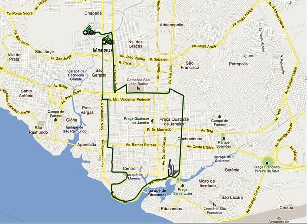 Percurso da segunda edição do Bicicletada de Manaus. (Foto: Divulgação)