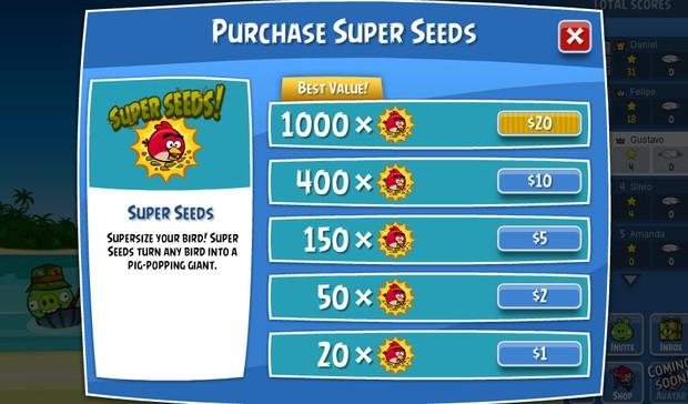 Itens para comprar em 'Angry Birds' no Facebook começam com o valor de US$ 1, mas game pode ser jogado gratuitamente (Foto: Reprodução)