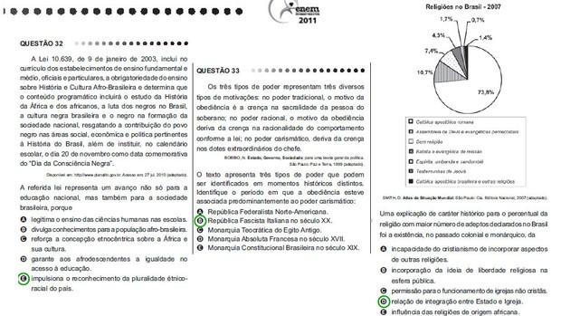 Questões 32, 33 e 34 da prova amarela de ciências humanas e suas tecnologias (Foto: Reprodução)