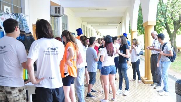 Primeiro dia de matrículas na Unesp, em Rio Preto (Foto: Natália Clementin / G1)
