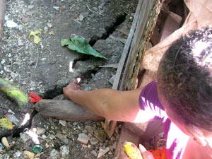 Maria Aparecida aponta a fenda que surgiu nos fundos da casa dela.