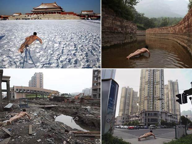Ou Zhihang em diversos locais da China
