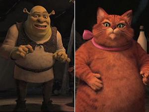 Cena de 'Shrek para sempre': ogro verde fica impressionado com visual do Gato de Botas.