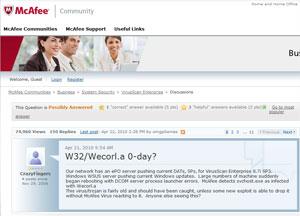 Queixas de usuários apareceram em peso no fórum da McAfee.