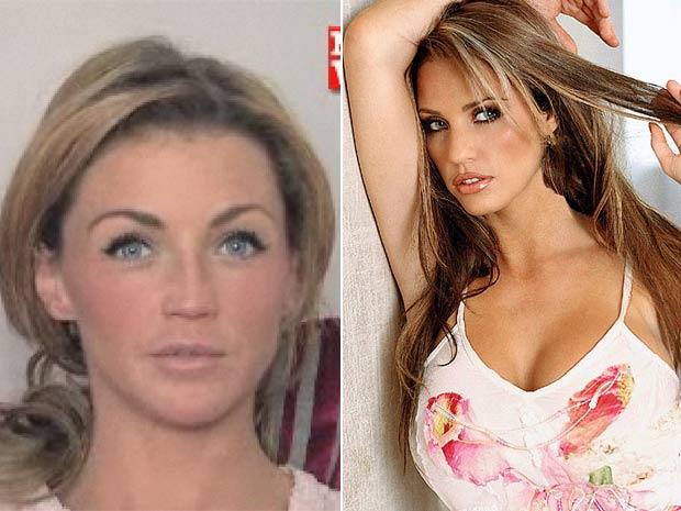 À esquerda, Hollie Henderson, que gastou uma fortuna para ficar parecida com Katie Price.