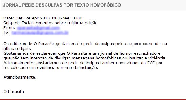 Jornal pede desculpas por texto homofóbico
