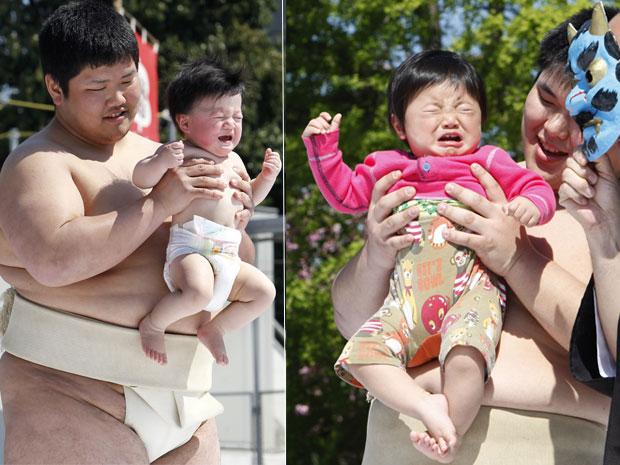 Bebês choram e alegram os pais em Tóquio durante festival Naki Sumo