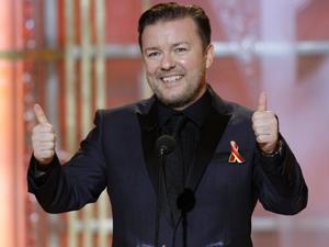 Ricky Gervais, durante o Globo de Ouro 2010