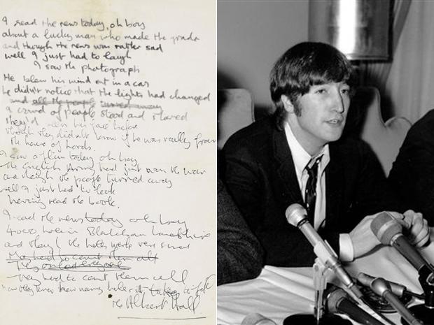 Manuscrito, feito por Lennon para música de