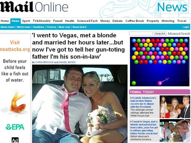Nick Bond e Alex Gabrielson se casaram depois do primeiro encontro na balada de Las Vegas