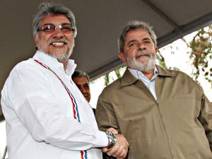 Presidente Lula e o presidente do Paraguai, Fernando Lugo, durante encontro na cidade de Ponta Porã, em Mato Grosso do Sul