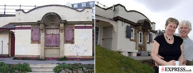 Antes e depois: Banheiro foi desativado em 1990; casal pagou 15 mil libras pelo imóvel, hoje convertido em casa