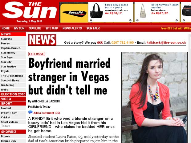 A inglesa Laura Paton, de 23 anos, foi trocada por uma americana da mesma idade