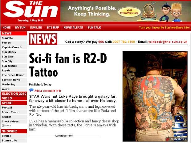 Luke Kaye tem 14 tatuagens nas costas