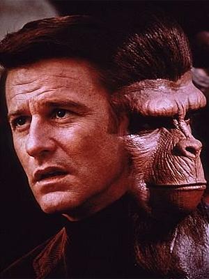Cena do primeiro filme da série 'Planeta dos macacos', lançado em 1968.