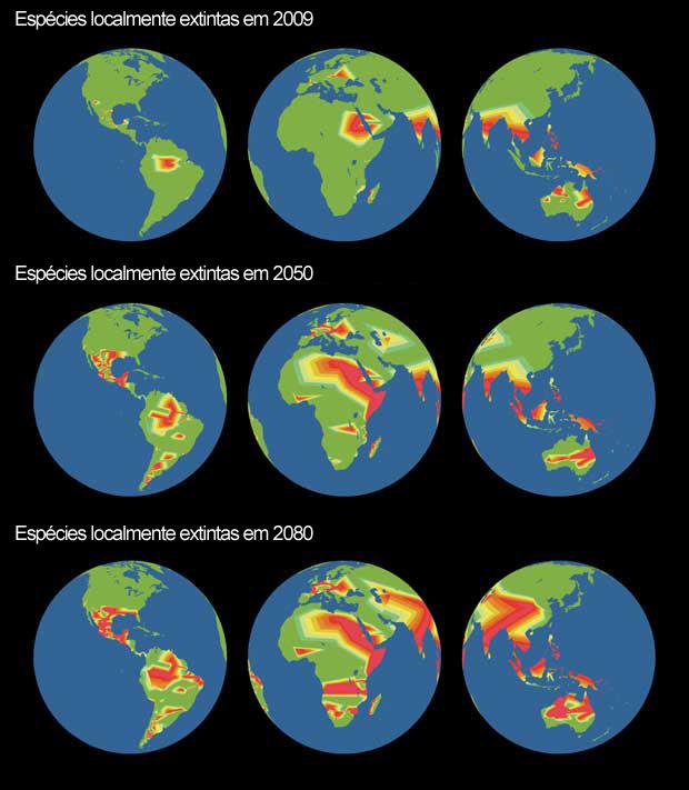 Ritmo de extinções até 2080