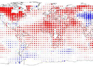 Pontos vermelhos mais pronunciados indicam altas maiores de temperatura