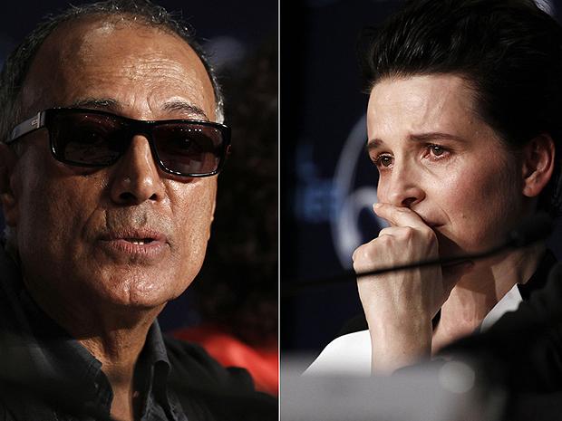 O cineasya Abbas Kiarostami e a atriz Juliette Binoche em entrevista em Cannes.
