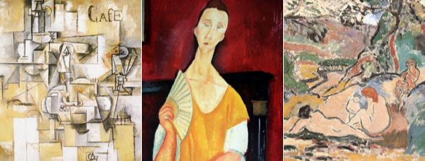 Detalhes das obras de Picasso, Modigliani e Matisse roubadas de museu em Paris.