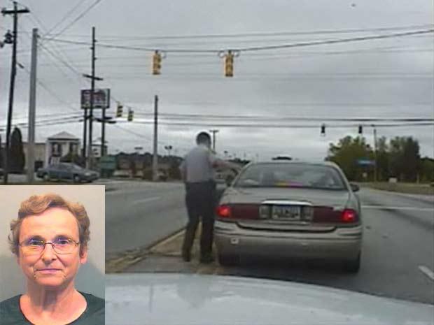 Sandra Powell foi flagrada dirigindo em alta velocidade.