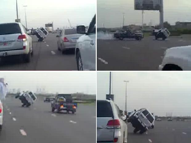 Veículo 4x4 trafega sob duas rodas em estrada movimentada em Dubai