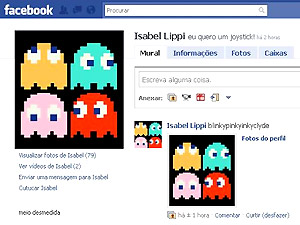Em seu perfil, Isabel Lippi presta uma homenagem ao videogame.