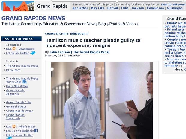Daniel James DuPuis foi condenado por se masturbar em sala de aula.