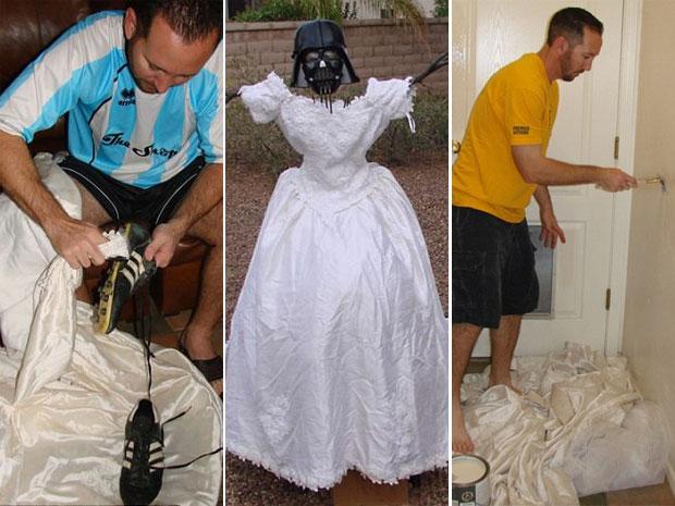 Kevin Cotter pede opinião de internautas sobre como usar vestido da ex-mulher