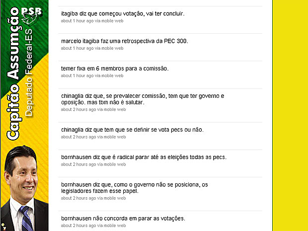 Twitter do deputado Capitão Assumção (PSB-ES) com textos  postados durante a reunião