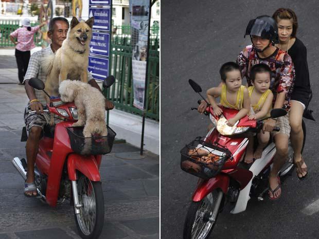 À esquerda, tailandês foi flagrado na terça-feira (25) levando seus cães de estimação em sua scooter em Bancoc, na Tailândia. À direita, em outro caso de imprudência, motoqueiro foi visto passeando no domingo (23) com a família, a mulher e dois filhos, no