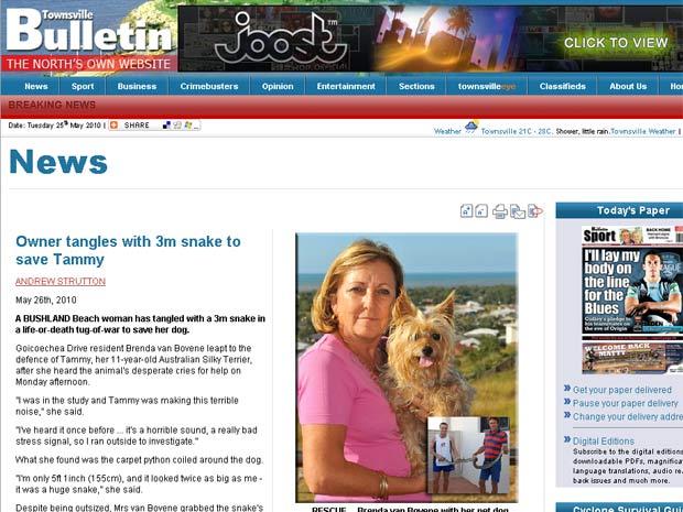 Brenda van Bovene com sua cadela de estimação.