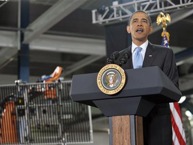 O presidente dos EUA, Barack Obama, discursa nesta quarta-feira (26) em Fremont, na Califórnia.