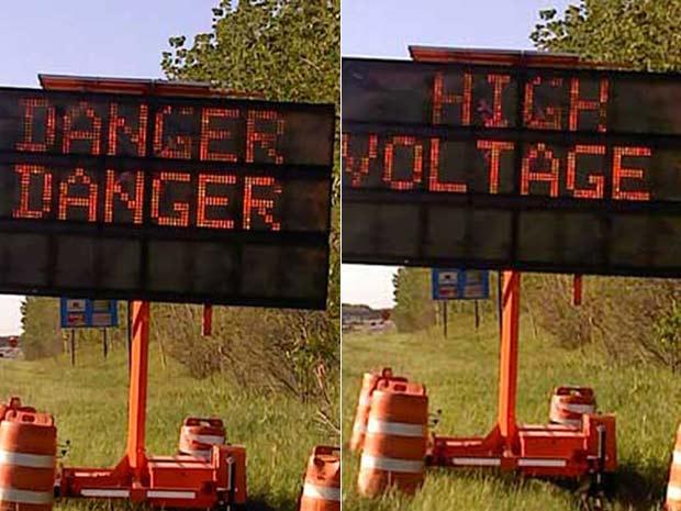 Painel alterado indica perigo, perigo