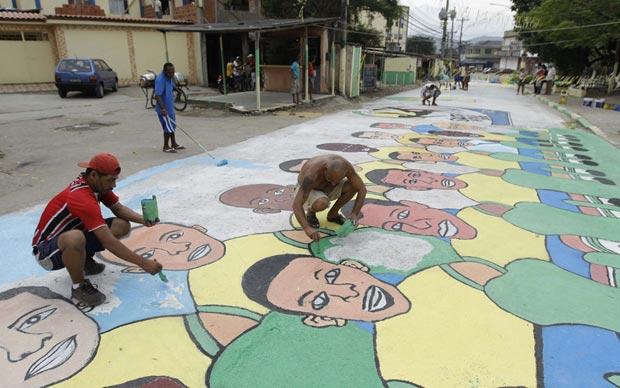 Pintura ilustra os jogadores da seleção brasileira