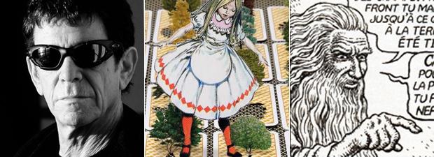 Lou Reed, 'Alice no País das Maravilha' e 'Genesis', de Crumb: reforço em temas pop.