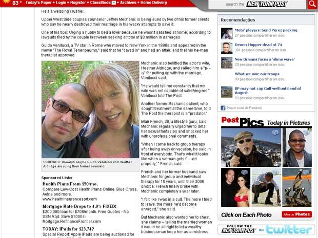 Guido Venitucci e Heather Aldridge estão processando conselheiro conjugal em US$ 8 milhões