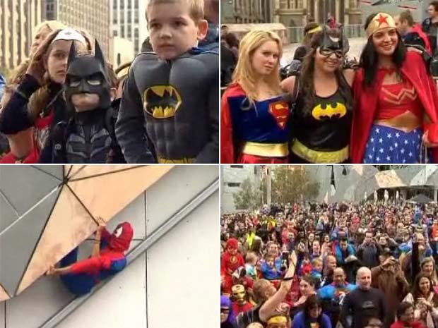 Quase 1.250 pessoas se fantasiaram de super-herói.