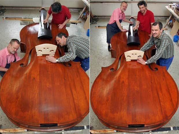 Os alemães Ekkard Seidl e Frank Schlegel construíram em Markneukirchen, na Alemanha, o maior violino tocável do mundo.