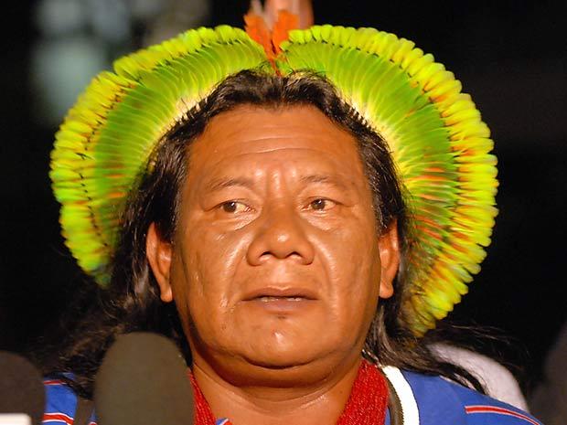 Cacique Akiaboro, líder geral de todas as aldeias Caiapó, após reunião com Lula e membros do governo